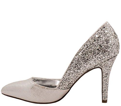 Elara Damen Pumps | Spitze Stiletto High Heels | Moderne Pumps Silber Marseille
