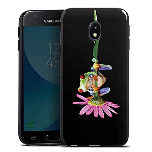DeinDesign Slim Case Silikon Hülle Ultra Dünn Schutzhülle kompatibel mit Samsung Galaxy J3 Duos 2017 Frosch Flower Blume -