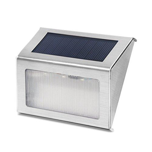 Signstek 4 Stk 3 LED Solar Wandleuchte Gartenleuchte Treppenbeleuchtung aus Edelstahl CE + ROHS