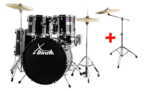 xdrum-semi-22-standard-schlagzeug-midnight-black-set-inkl-galgenstander-16-crash-becken-doppelstrebi