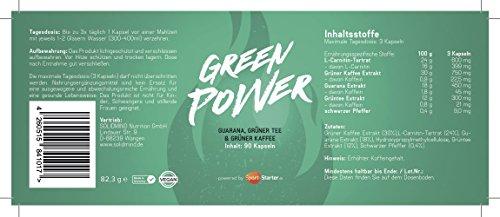 GREEN POWER Kapseln - 100% Natürliches Guarana, Grüner Tee, Grüner Kaffee, Schwarzpfeffer Extrakt, L-Carnitin - 60 Tabletten Made in Germany