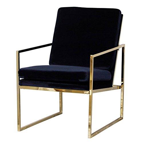 Poltrona blu scuro sedia in velluto, aspetto di rame ottone placcato finitura oro acciaio / struttura in metallo, 1 divano letto di lusso per soggiorno camera da letto cafe, scandinavian design