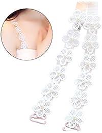 Tinksky Bandoulière en dentelle convertible Bracelet en fleur de perles Bracelet pour la robe Tops Cadeau d'anniversaire de Noël pour femme (Blanc)