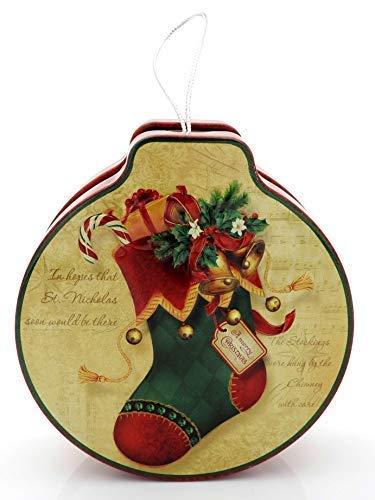 E+N Geschenk-Dose Geld-Geschenk-Idee Vorrats-Dose Keks-Dose Weihnachten Nikolaus-Strumpf Nostalgie rot/Gold/grün, ØxHxGesL: 12x4x22cm, zum Öffnen/Befüllen (Und Gold-strümpfe Rot)