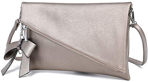 Løkke - Damen Clutch Gold Handtasche - Tasche mit abnehmbarem Schulterriemen - Abendtasche Schultertasche Umhängetasche - inkl. Schleife (Clutch Taupe)