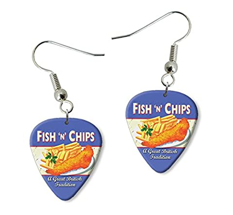 Fish & Chips Brittish Tradition Martin Wiscombe Guitare Médiator Pick Boucles d'oreilles Earrings Vintage Retro