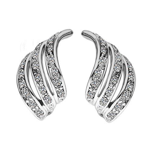 S925 Sterling Silber Lady Elegant Diamant-Studded Curved Ohrstecker Drei Spiral Line Zirkonia Kristall Ohrringe Damenmode Exquisite Ohrringe für Frauen Mädchen Hochzeit Schmuck Womens Studded Wrap