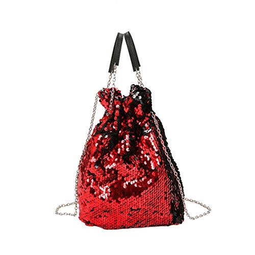 Mitlfuny handbemalte Ledertasche, Schultertasche, Geschenk, Handgefertigte Tasche,Frauen-Mädchen-Paillette-Kettenbunte Schulter-Beutel-Prinzessin Bling Crossbody Bag -