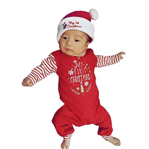 Baby Bekleidung Strampler Longra Neugeborene Baby Mädchen Jungen Weihnachten Streifen Strampler Jumpsuits Lange Ärmel Overall Pyjama Baumwolle Outfits Spielanzug Kletter Kleidung (Red, 70CM 6Monate)