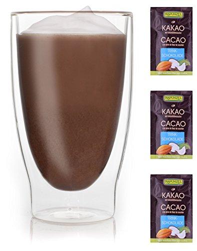 doppelwandiges Thermoglas + 3x hochwertiger Rapunzel BIO - Trinkschokolade mit hohem 30% Kakaoanteil, Kokosblütenzucker, Meersalz und mit natürlichem Bourbon Vanille (Rapunzel-zeichen)