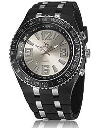 Relojes Hermosos, Diseño casual unisex v6 reloj de cuarzo correa de caucho luz led ( Color : Marrón )