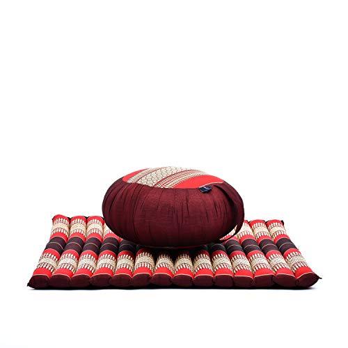 Leewadee Meditationsset: Meditationskissen Zafu 40x20cm, Meditationsmatte Zabuton 76x72cm (rot)