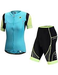 Hi8Store señoras ciclismo Jersey + 1/3para hombre verano transpirable de secado rápido al aire libre Set, morado