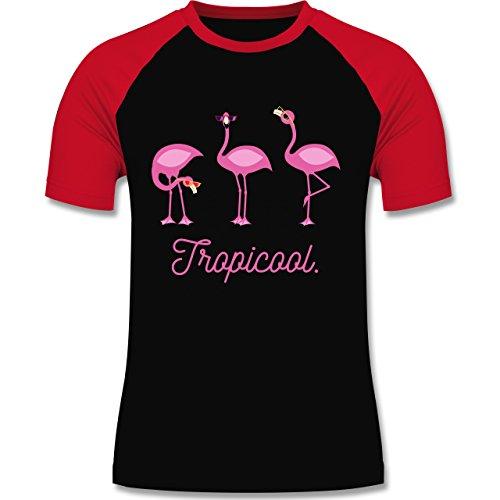 Vögel - Tropicool Flamingo Gang - zweifarbiges Baseballshirt für Männer Schwarz/Rot