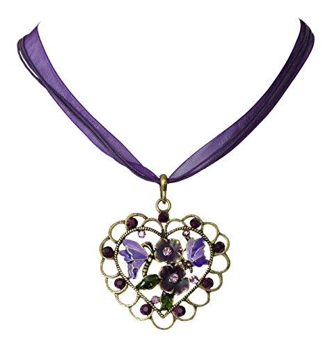 Trachtenschmuck Dirndl Herz Kristall Anhänger Kette - Antikbronze farben - Blüten Schmetterling (Lila/Violett)