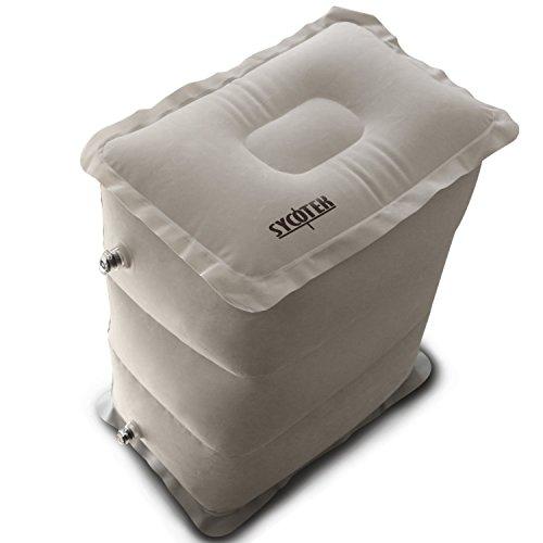 SYCOTEK Reposapiés Inflable Portable 3 Altura Ajustable, Almohada para Niños o Reposapiés de Viaje Inflable para el Asiento del Coche para la Relajación y Protección de Pernas y Pies, Gris