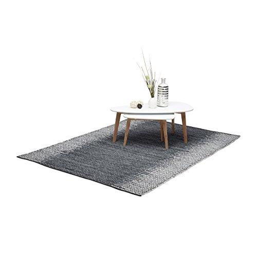 Relaxdays Lederteppich grau, handgewebter und robuster Wohnzimmerteppich mit Rauten Muster, 160 x 230 cm, mehrfarbig Gewebte Leder-teppich