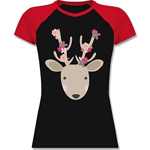 Ostern - Süßer Hirsch - Frühlingstiere mit Blumen - zweifarbiges Baseballshirt / Raglan T-Shirt für Damen Schwarz/Rot