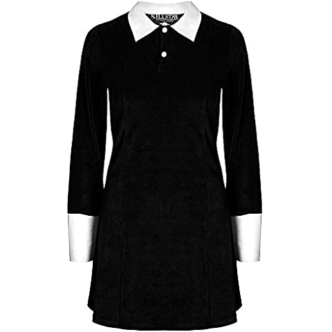 Kill Star teir - Addams Velvet Dress general-case a maniche lunghe vestito Mini dell'abito