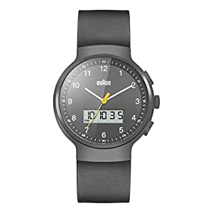 Braun Men's Quartz Watch with Grey Dial Analogue Digital Display and Black Rubber Strap BN0159GYGYG