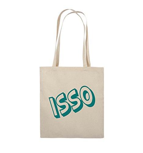 Comedy Bags - ISSO - COMIC SCHIEF - Jutebeutel - lange Henkel - 38x42cm - Farbe: Schwarz / Pink Natural / Türkis