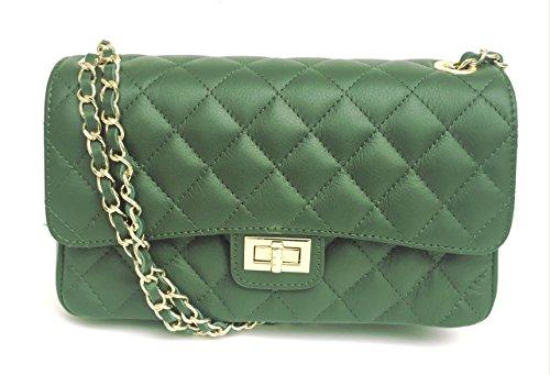 SUPERFLYBAGS Damen handtasche Schultertasche Echtes Leder Gesteppte Nappa model Parigi Classic Made in Italy Grün