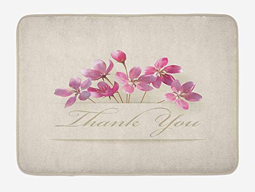 Flower Blossom Bath (Cherry Blossoms Bath Mat, Spring Flowers Floral Thank You for Anniversary and Teachers Print, Plush Bathroom Decor Mat with Non Slip Backing, 23.6 W X 15.7 W Inches, Ivory Pale Pink)
