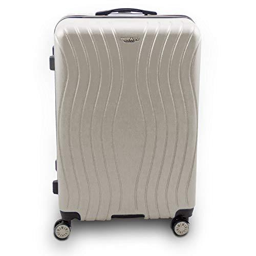 BERWIN Trolley Reisekoffer Reisetasche Gepäcktasche Größe XL Modell Angelina mit Extra Griff (Champagne)
