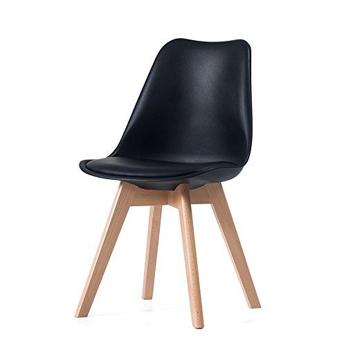 MEIDUO Durable Selles Chaise en bois massif Les affaires de bureau à domicile sont disponibles 48x53.5x82cm pour intérieur extérieur (Couleur : Noir)