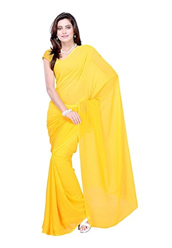 Jamkudi International's Georgette Saree With Blouse Piece(ethnic_ offer_Yellow_free size)