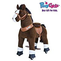 PonyCycle Official New U Series Ride on Horse Toy Plush Walking Animal Dark Brown Horse for Age 4-9
