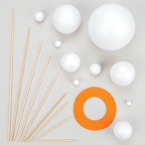 Kit para hacer tu propio sistema solar con bolas de poliestireno, piezas de espuma y palos...