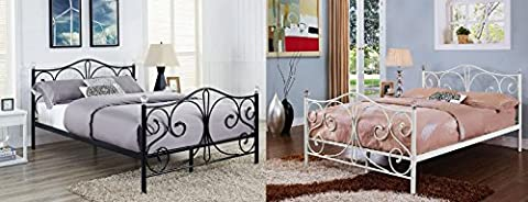 Brand New Crystallo Metal Bed Frame 4ft6 Double 5Ft King White Or Black By Limitless Base (King,