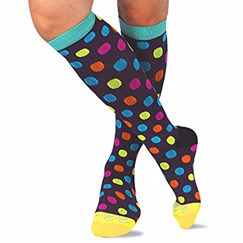 Compression Socks for Women & Men by RioRiva - Athletic Pattern Fits for Running, Athletic Sports, Crossfit, Flight Travel - Suits Nurses, Maternity Pregnancy- Knee High (Colorful dot, M:UK men 7-9/women 6-8/calf