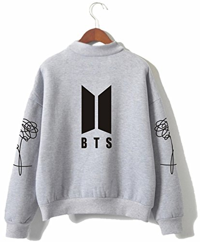 SERAPHY Unisex BTS Kapuzenpullover Bangtan Boys Love Yourself BTS Rollkragen Sweatshirts für Armee Suga Jimin Jin Jung Jook J-Hope Rap-Monster V grau 2XL