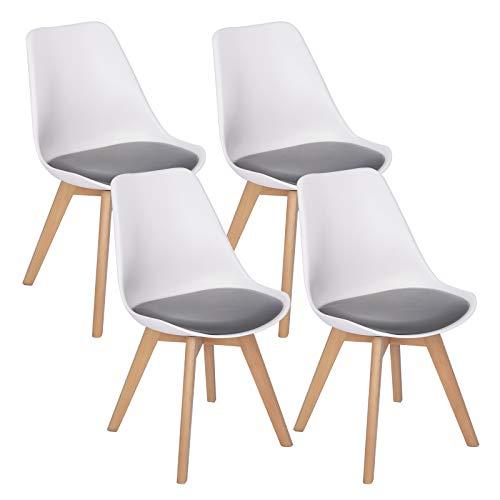 WOLTU 4er Set Esszimmerstühle Küchenstuhl Design Stuhl Esszimmerstuhl Kunstleder Holz 2