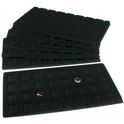 Findingking Halsketten 6schwarz 32Slot Puff Ohrring Karten Styling Display Tablett fügt 32 Slot, Display-trays