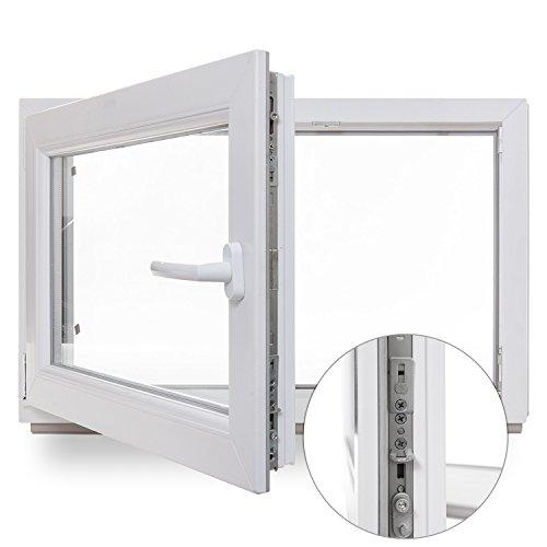 Kellerfenster - Kunststoff - Fenster - weiß - BxH: 80x40 cm - DIN rechts - Sicherheitsbeschlag - verschiedene Maße