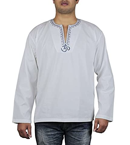 Indian Outfit Loose Fit Airy Comfortable Om Embroidered Kurta Shirt For Men 42 Inches