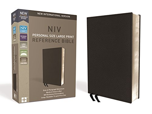 NIV, Personal Size Reference Bible, Large Print, Premium Leather, Black, Red Letter Edition, Comfort Print