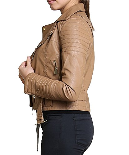 Diana Femmes Nouvelles Faux Cuir Or ou Metal Button Zip Crop Ladies Biker Veste Manteau Camel Animal