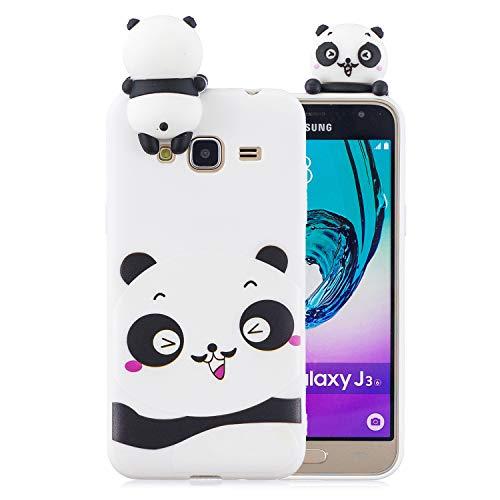 Funluna Cover Samsung Galaxy J3 2016, 3D Panda Modello Ultra Sottile Morbido TPU Silicone Custodia Antiurto Protettiva Copertura Gomma Back Cover per Samsung Galaxy J3 2016, Bianca