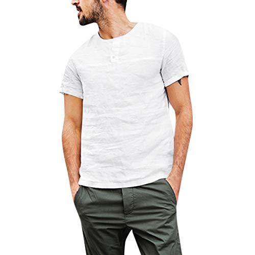HEETEY Männer T-Shirt, Männer Baggy Baumwolle Leinen Volltonfarbe Button Kurzarm T-Shirts Tops Blusen Kurzarm Poloshirt Polohemd Polo Shirts mit Kariert Polokragen