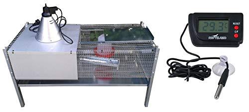 Montidistribuzione gabbia riscaldata allevatrice per pulcini primigiorni. pulcinaia con termometro in omaggio