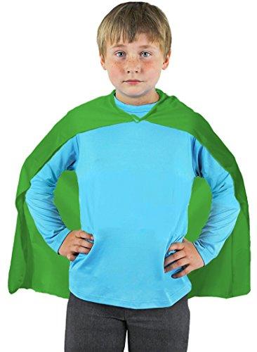 ILOVEFANCYDRESS SUPERHELDEN Hero Kinder=Jungen+ MÄDCHEN=MIT+OHNE FARBLICH PASSENDER Augenmaske+MIT MUSKELSHIRT=KOSTÜM VERKLEIDUNG Fasching UND Karneval=UMHANG-GRÜN (Silver Surfer Kostüm)