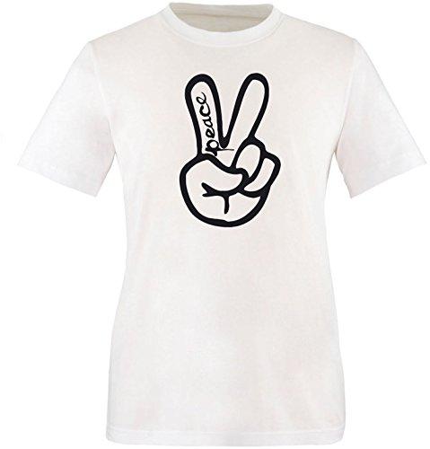 ezyshirt Peace Hand Herren Rundhals T-Shirt Weiss/Schwarz