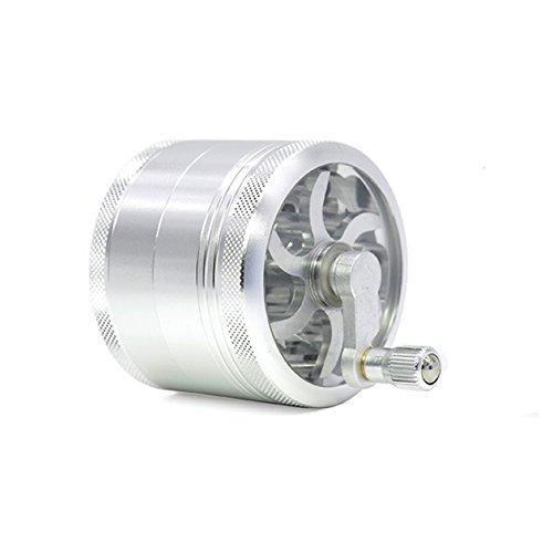 Duzzy Aluminium 4 Schicht Herb Grinder für Spice Tabak mit Kurbel Griff + Sichter + Pollenfänger (63mm, Silber) (Griff Herb Grinder)