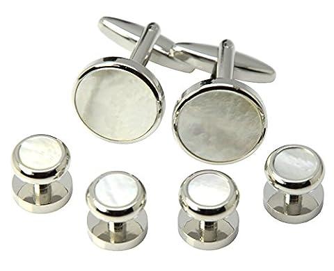 Okones Schale und Manschettenknöpfe, rund, 4-Ohrstecker Silber Muschel Smoking-Hemd für formale Manschettenknöpfe