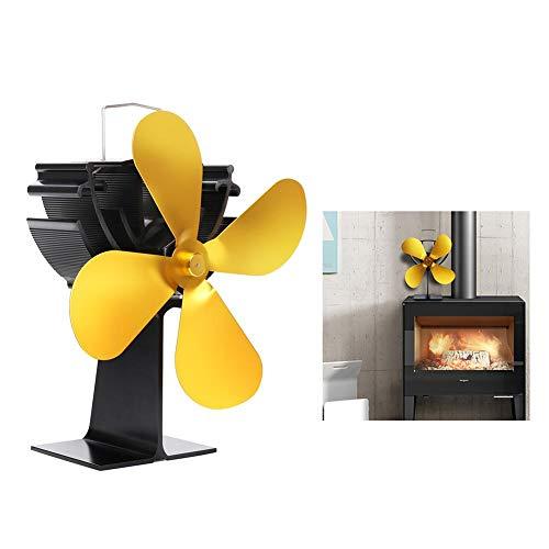Ridecle Ventilateur de poêle alimenté à la Chaleur à 4 Lames pour brûleur à Bois, Ventilateur de cheminée à Combustion respectueux de l'environnement pour Le Salon intérieur