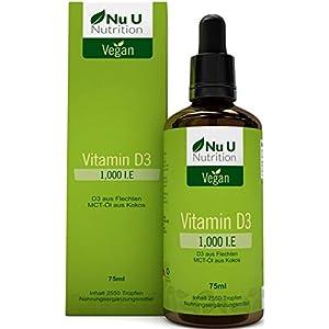 Vitamin D3 1000 IE 75ml = 2550 Tropfen | Für Vegetarier und Veganer geeignet | Hoch bioverfügbare flüssige Vitamin D3 Tropfen (Cholecalciferol) aus Flechten | MCT-Öl gewonnen aus Kokos